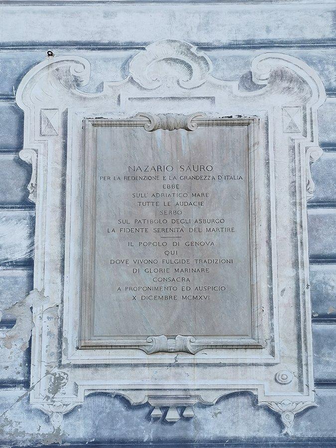 Palazzo San Giorgio - Lapide Nazario Sauro
